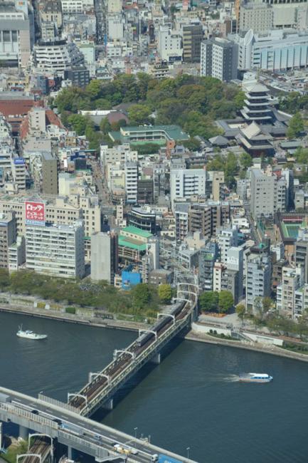 Gezien vanaf het observation deck in de skytree passeert Tobu commuter train (series 30000) de rivier Sumida. Na ongeveer 200 meter bereikt de trein haar eindhalte: het station Asakusa.