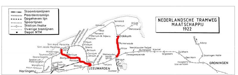 De beide tramlijnen van de Nederlandsche Tramweg Maatschappij in rood. Tekening: Dick van der Spek.