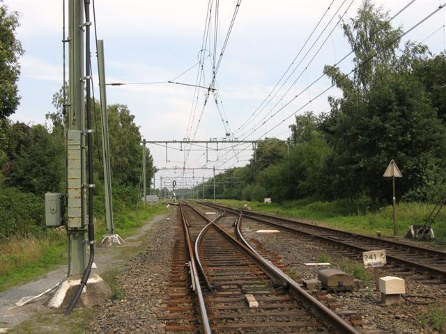 Twee maanden later, nu is het noordelijke spoor afgesloten. De overloopwissels aan de westzijde van het emplacement Haelen, gezien in oostelijke richting. Het noordelijke hoofdspoor in de richting Weert ligt er ongebruikt en dus roestig bij.