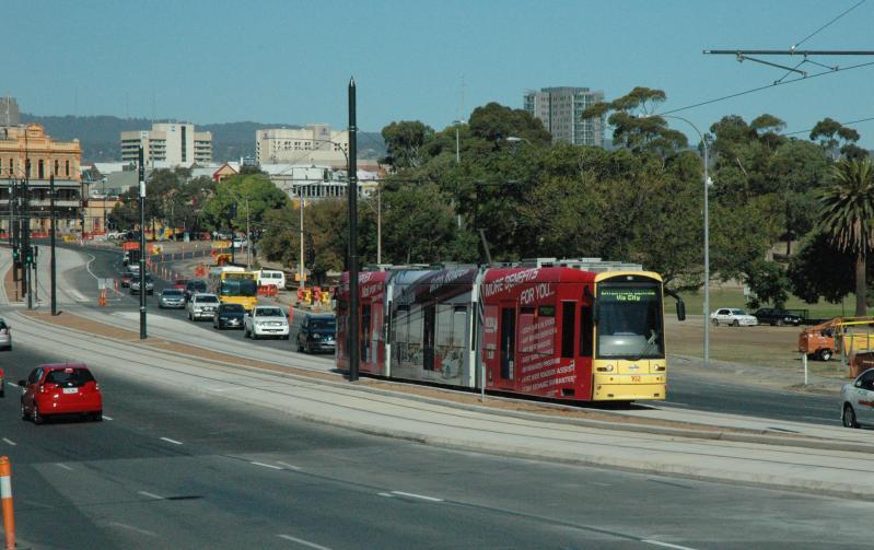 In Maart 2010 werd de tweede verlenging van North Terrace (City West) naar Hindmarsh Entertainment Centre geopend. Het traject ligt geheel op vrije baan. Opvallend is dat tram 102 totaalreclame voert voor de autofabrikant Holden (General Motors).