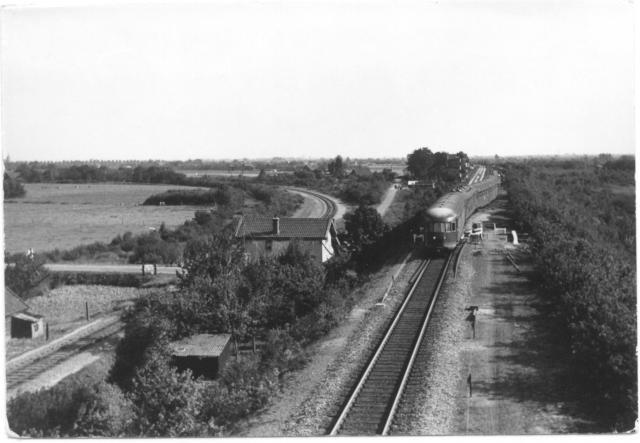 DE5 183 Roermond - Enschede komt door over spoor 2 bij km 35.45 van de SS-lijn Arnhem-Venlo en passeert daarbij het viaduct over de Hapseweg. Links de verbindindingsbaan Bga Bhg (1884) met wachtpost 27.Foto: foto 688.683 AC Periode: 4 september 1959