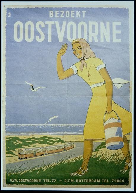 Affiche door H.W. Tap uit ca 1950 om het reizen naar het strand te promoten.Tap heeft naast affiches nog allerlei andere vormgeving voor de RTM gedaan; hij ontwierp het beeldmerk met de vleugels dat op de trams en bussen te zien was, en had ook een bijdrage aan de vormgeving van diverse locomotieven die in de werkplaats van het bedrijf zijn verbouwd.