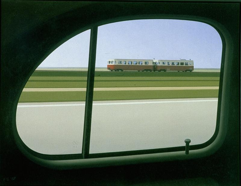 """Frans Stuurman heeft als kunstschilder veel tram-gerelateerde onderwerpen geschilderd, ook van de RTM. Dit schilderij heeft als titel """"Micheline""""; het is geïnspireerd op het """"Fuut""""-tramstel van de RTM. Dit stel bestond uit twee uit Frankrijk overgenomen Billard-rijtuigen.Olieverf op linnen, 50x65 cm, 1987."""
