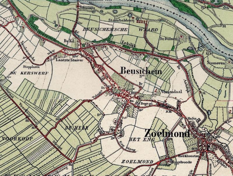 """Topografische kaart uit 1912; kijk aan de linkerkant bij ′Laatste Stuiver""""."""