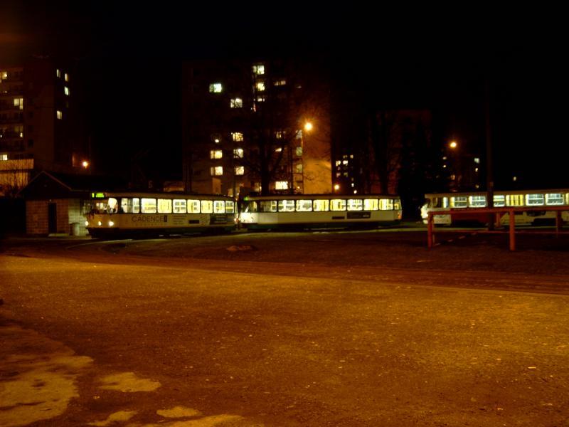 Het eindpunt in Jablonec bij avond.
