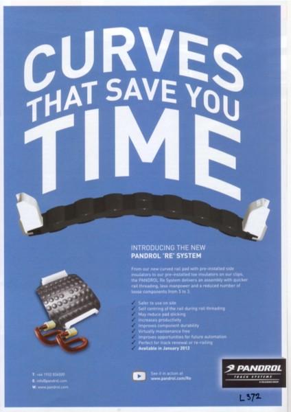CURVES THAT SAVE YOU TIME, advertentie van Pandrol voor het nieuwe RE-systeem van railpad en zij-isolators, 2012.