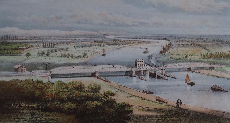 De Nederlandsche Rhijnspoorweg Maatschappij (NRS) opende in 1855 de spoorlijn van Arnhem naar Duitsland en bouwde daarvoor een spoorbrug over de IJssel: het werd een dubbelsporige brug met in het midden een draaibaar gedeelte.
